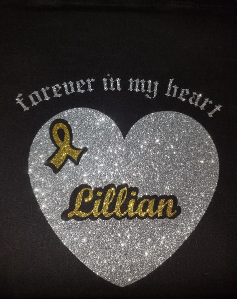 "LADIES Glittery ""Forever in My Heart"" Personalized Short Sleeve Cotton Tee"