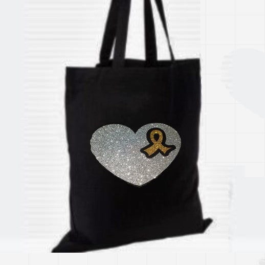 Glittery Ribbon Heart Cotton Tote Bag