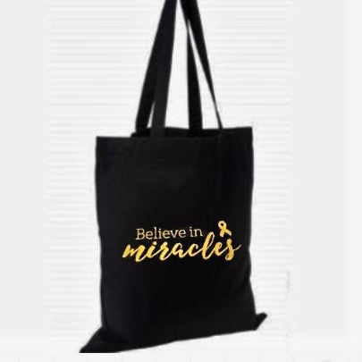 "Glittery ""Believe in Miracles"" Cotton Tote Bag"