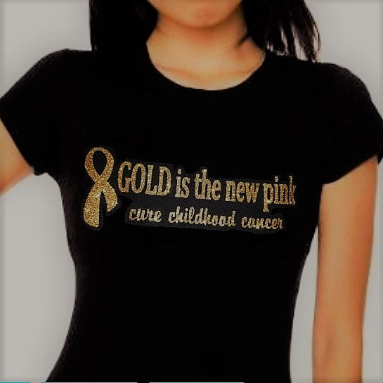 "LADIES'  ""Gold is the new pink"" Short Sleeve Cotton Tee"