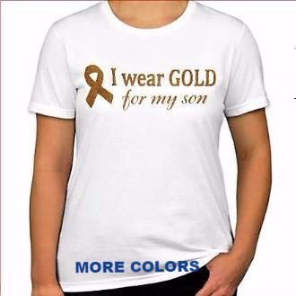 "LADIES'  ""I wear GOLD for my son"" Cotton Tee"