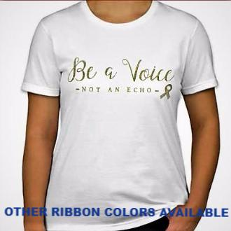 "LADIES Glittery ""Be a Voice"" Short Sleeve Cotton Tee"