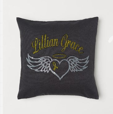 Winged Heart Personalized Throw Pillow