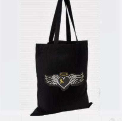 "Glittery ""Winged Halo Heart"" Cotton Tote Bag"