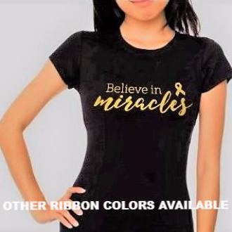"LADIES Glittery ""Believe in Miracles"" Short Sleeve Cotton Tee"