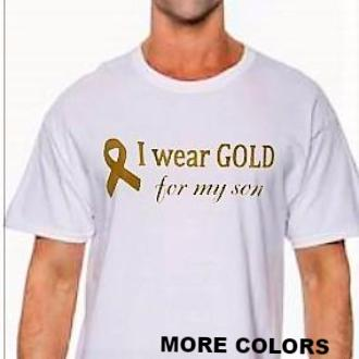 "MEN'S  ""I wear GOLD for my son""  Short Sleeve Cotton Tee"