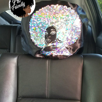 Holographic Silver Front Facing Afro Fro Friendly