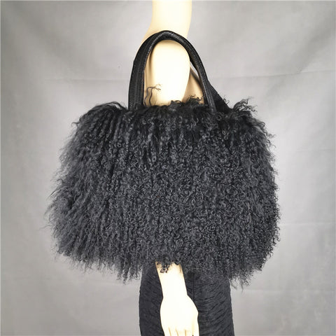 Oversized Lamb Fur Bag