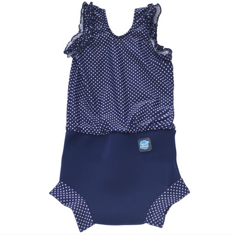 Happy Nappy Costume - Navy with White Dots
