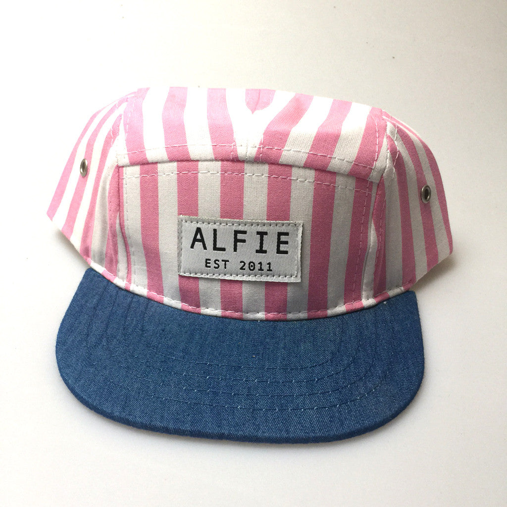 Pink and White Stripe Denim Hat (5 panel)