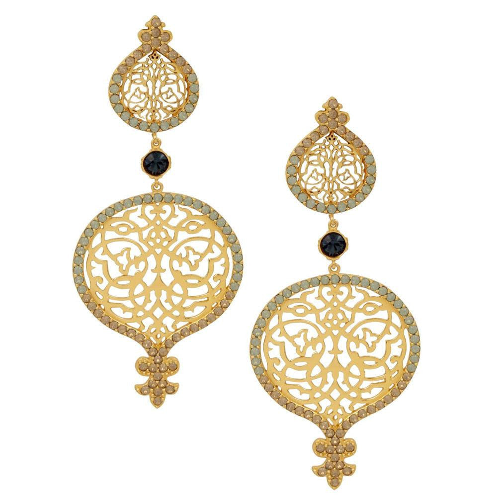 Persian Jaal Gold Outline Earrings - Confluence by Swarovski - Eina Ahluwalia