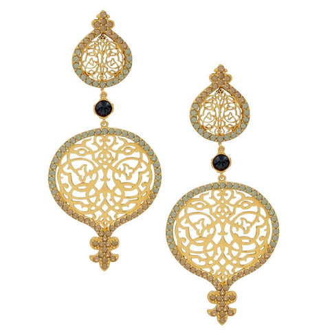 Persian Jaal Gold Outline Earrings - Confluence by Swarovski