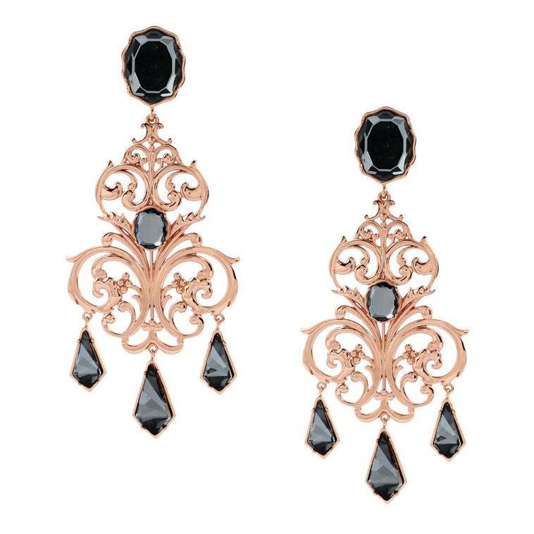 Rinascita Chandelier Earrings - Confluence by Swarovski - Eina Ahluwalia