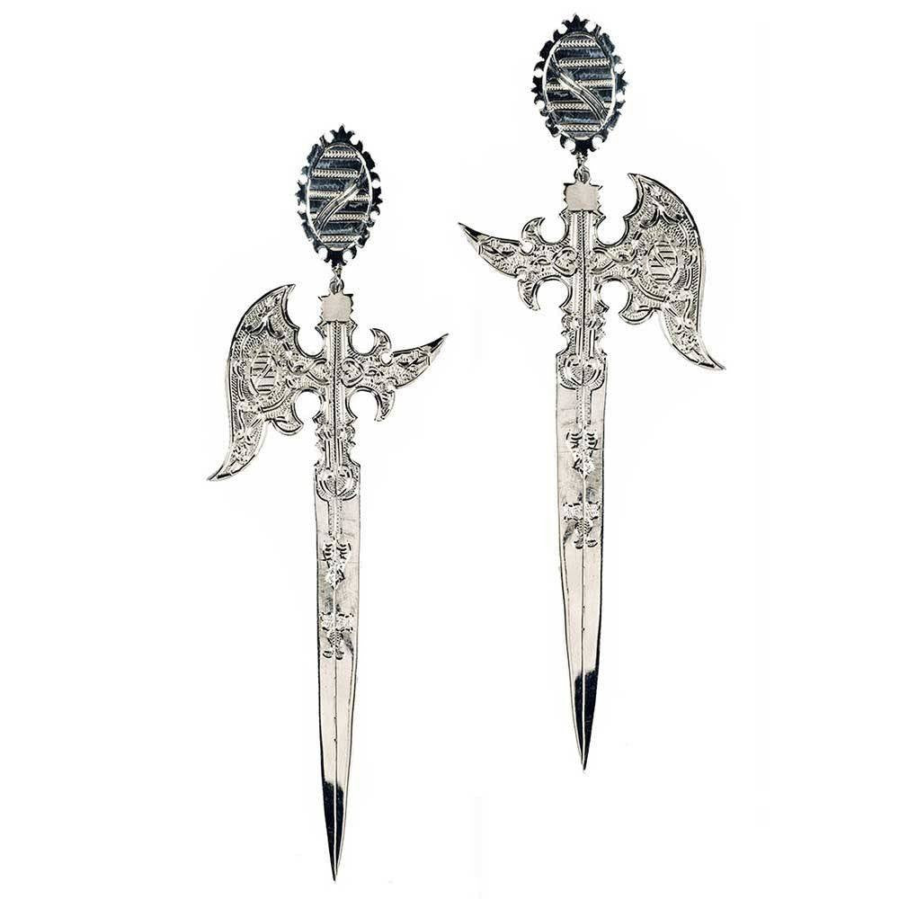 16th Century Saxon Knife Inspired Earrings - Eina Ahluwalia