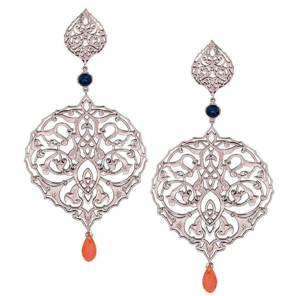 Persian Jaal Silver Drop Earrings - Confluence by Swarovski - Eina Ahluwalia