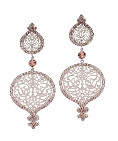 Persian Jaal Silver Outline Earrings - Confluence by Swarovski