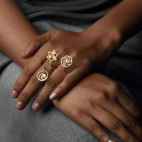 Sacred Geometry 2 Finger Ring