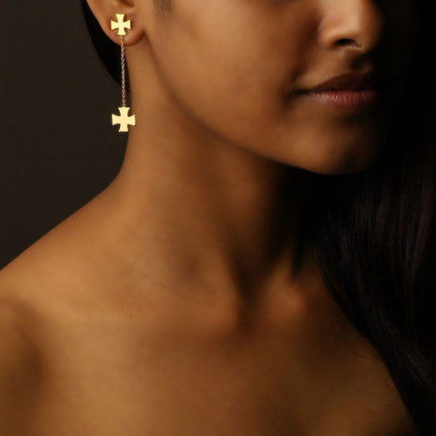 Medal of Valour Drop Earrings (Available in 3 colours)
