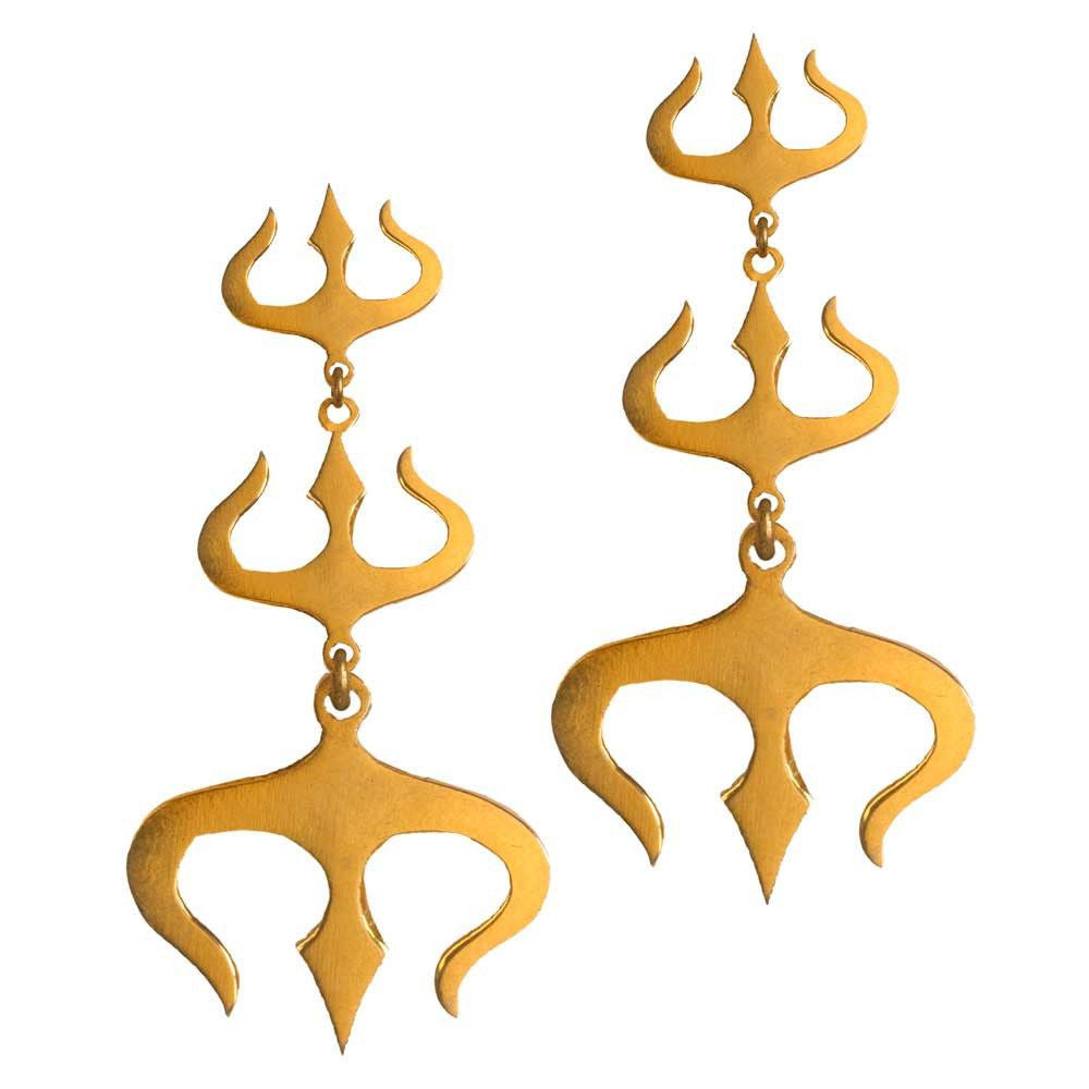 3 Layered Trishul Earrings