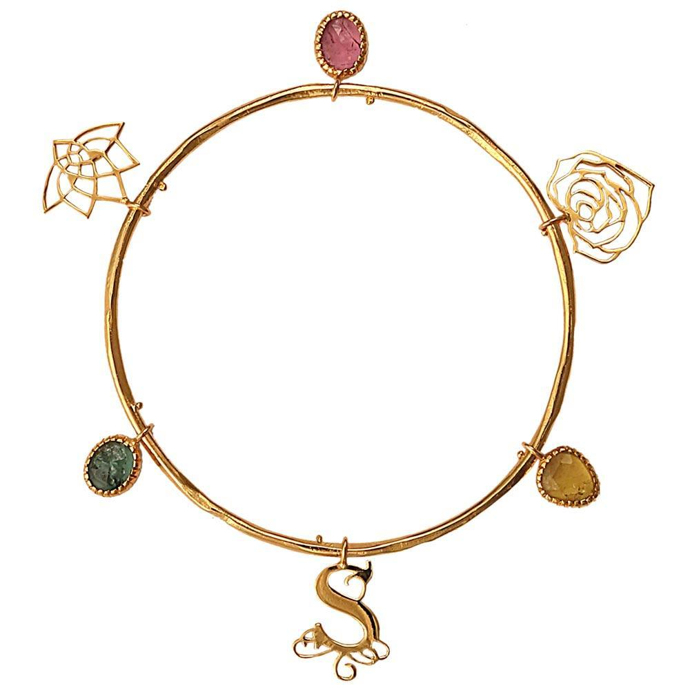 Eina Ahluwalia Charm Bangle with Tourmalines - Eina Ahluwalia