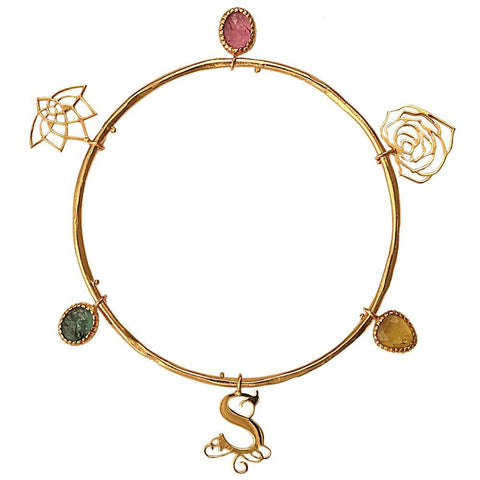 Eina Ahluwalia Charm Bangle with Tourmalines
