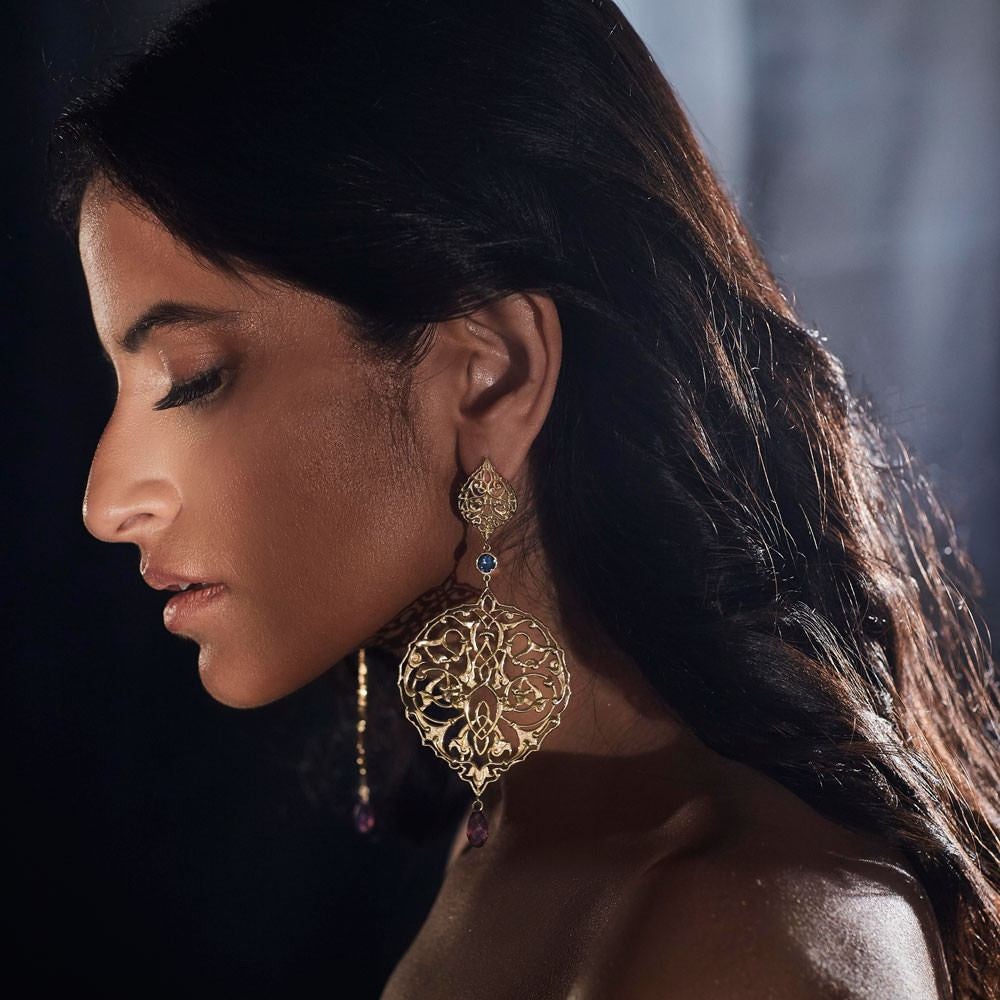 Persian Jaal Gold Drop Earrings - Confluence by Swarovski - Eina Ahluwalia
