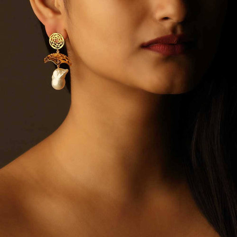 Lotus Fractal Jhumkas with Baroque Pearl