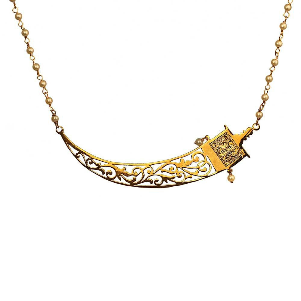 Mini Fretwork Sword Necklace - Eina Ahluwalia