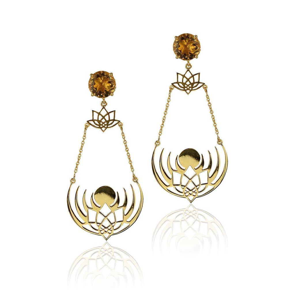 Crown of Selene Earrings - Citrine - Eina Ahluwalia