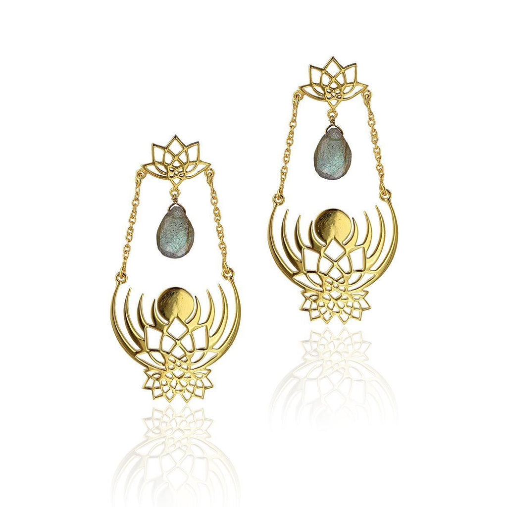 Crown of Selene Drop Earrings - Labradorite