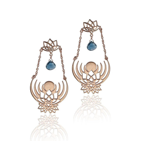 Crown of Selene Drop Earrings - London Blue Topaz