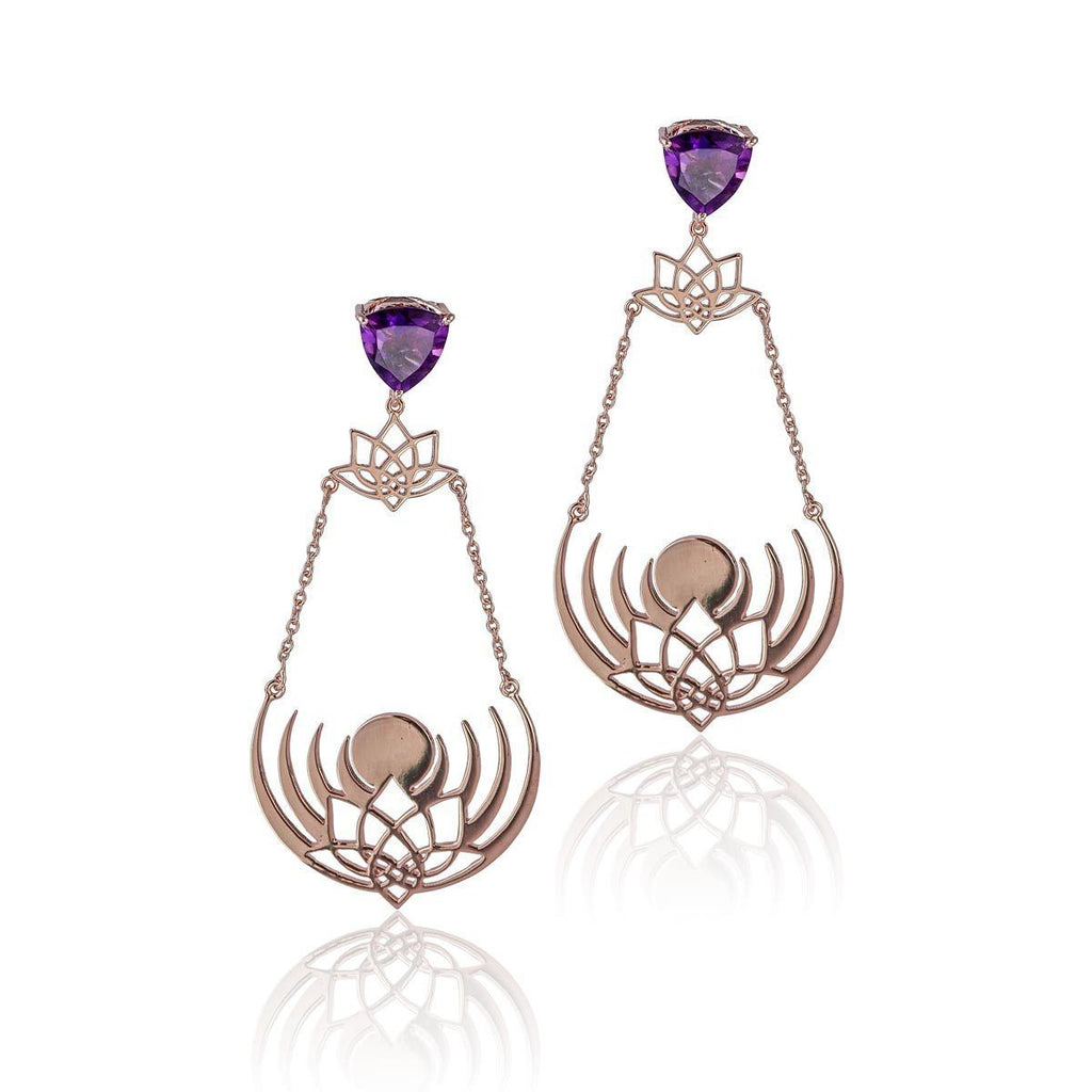 Crown of Selene Earrings - Amethyst