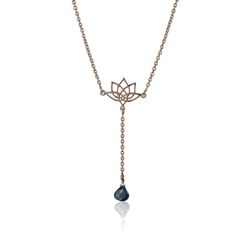 Enlight Lariat Necklace - London Blue Topaz - Eina Ahluwalia