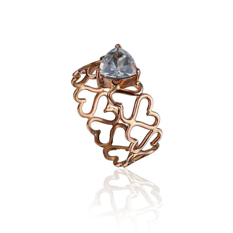 Unconditional Love & Creativity Ring - Aquamarine in 18K Rose Gold