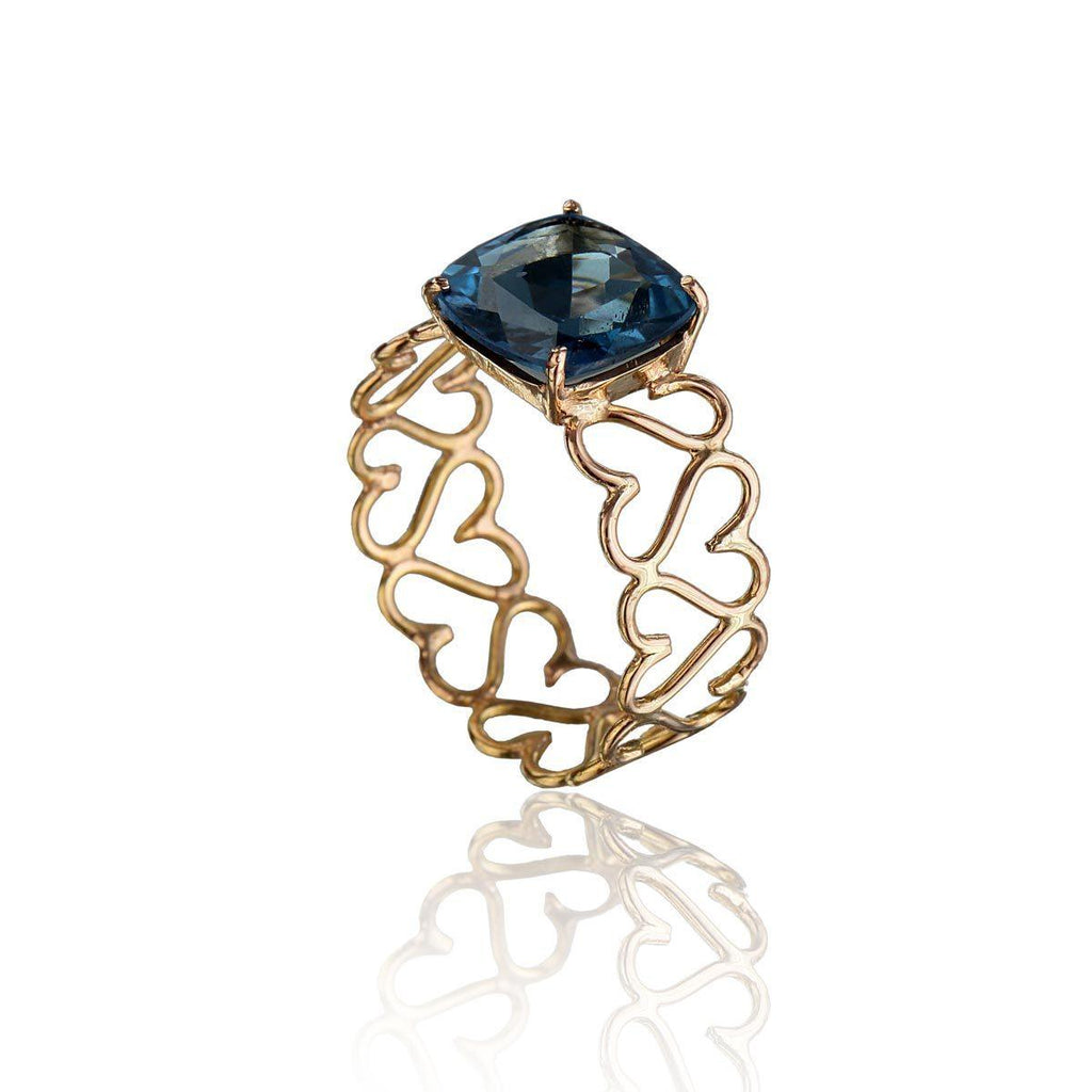 Unconditional Love & Truth Ring - London Blue Topaz in 18K Rose Gold - Eina Ahluwalia
