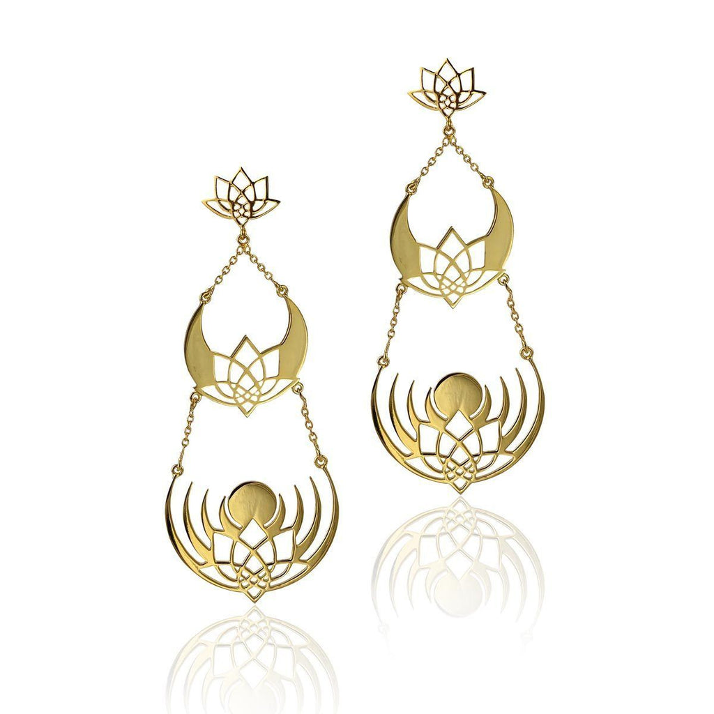 Crown of Selene Earrings - 3 layer Earrings - Eina Ahluwalia