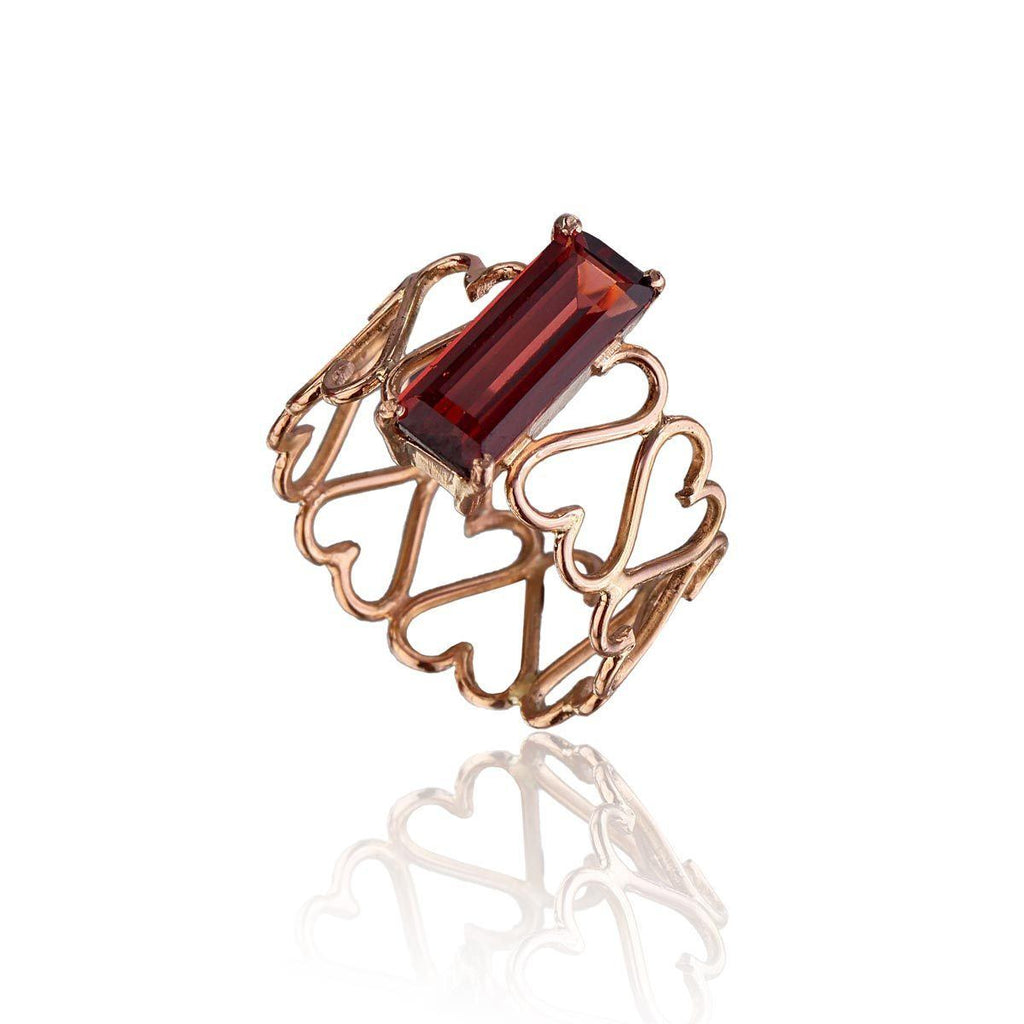 Unconditional Love & Abundance Ring - Garnet in 18K Rose Gold - Eina Ahluwalia