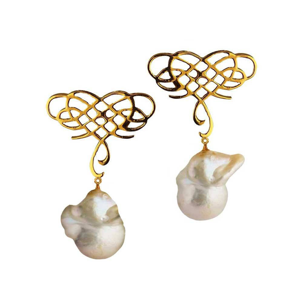 Infinite Love Earrings with Baroque Pearl - Eina Ahluwalia