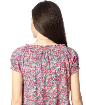 Casual Short Sleeve Printed Women's Pink Top