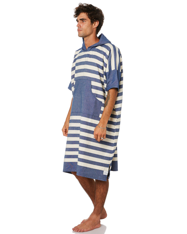 Ocean Blue Stripe Large Poncho