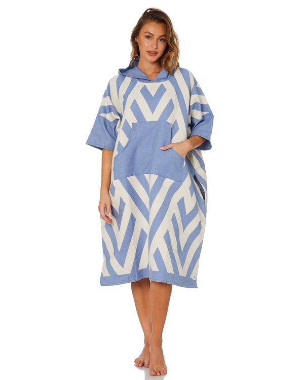 ZigZag Blue Large Poncho
