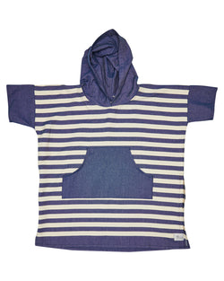 Ocean Blue Stripe Kids Poncho