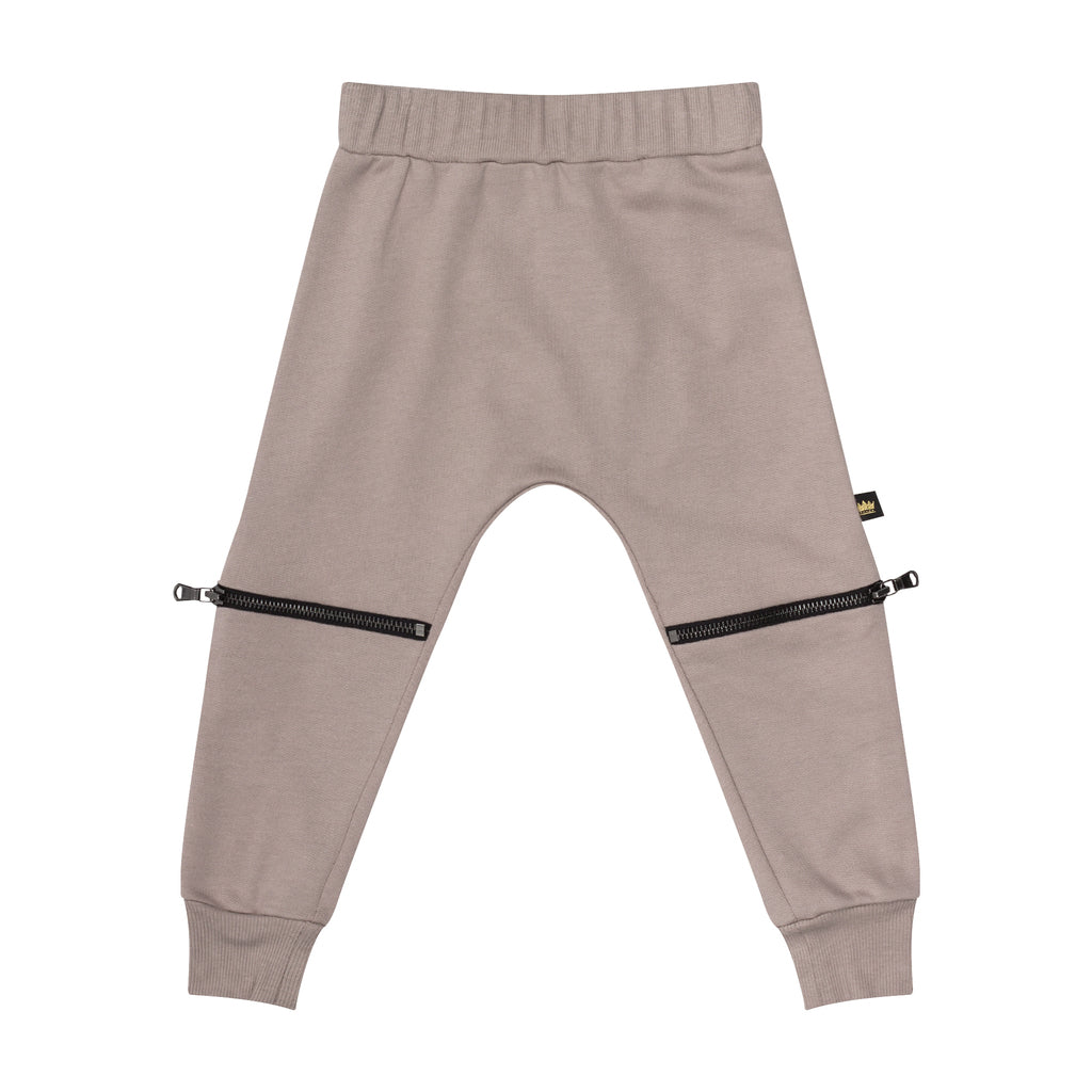 Taupe Double Zip Jogger - Kid Kong NYC