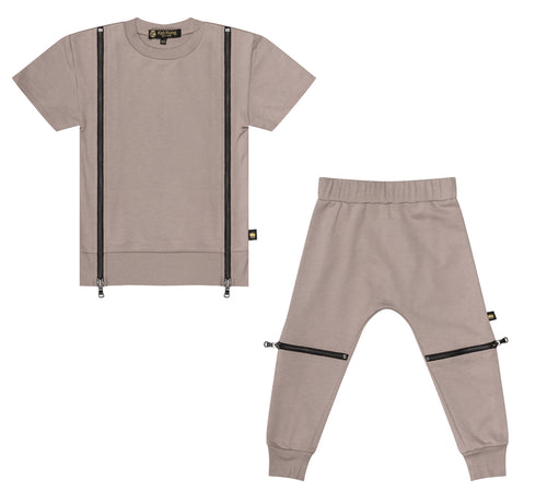 Taupe Double Zip Sweater + Jogger Set - Kid Kong NYC
