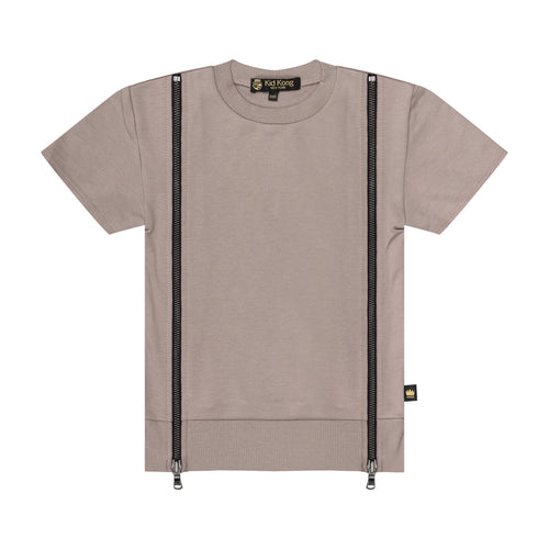 Taupe Double Zip Top - Kid Kong NYC