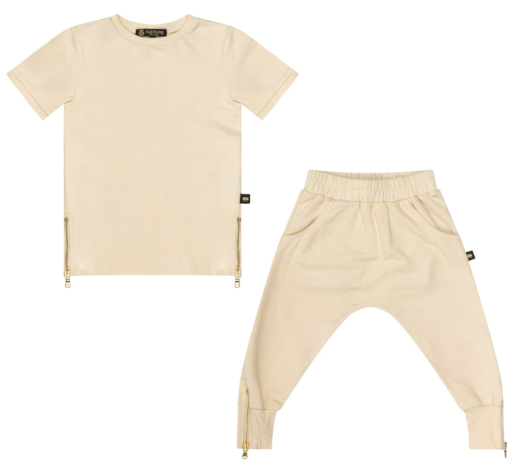 Girls Alabaster Top + Jogger Set - Kid Kong NYC