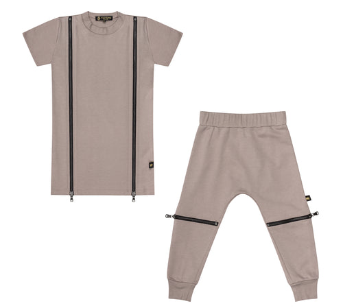 Taupe Double Zip Dress + Jogger Set - Kid Kong NYC