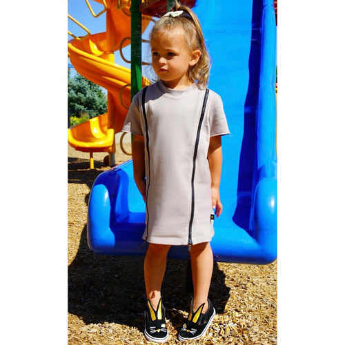 Taupe Double Zip Dress - Kid Kong NYC