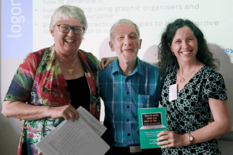 Pat Hipwell, Arne Trageton and Catherine Black at the 19th European Conference on Literacy in Klagenfurt, Austria, 2015.