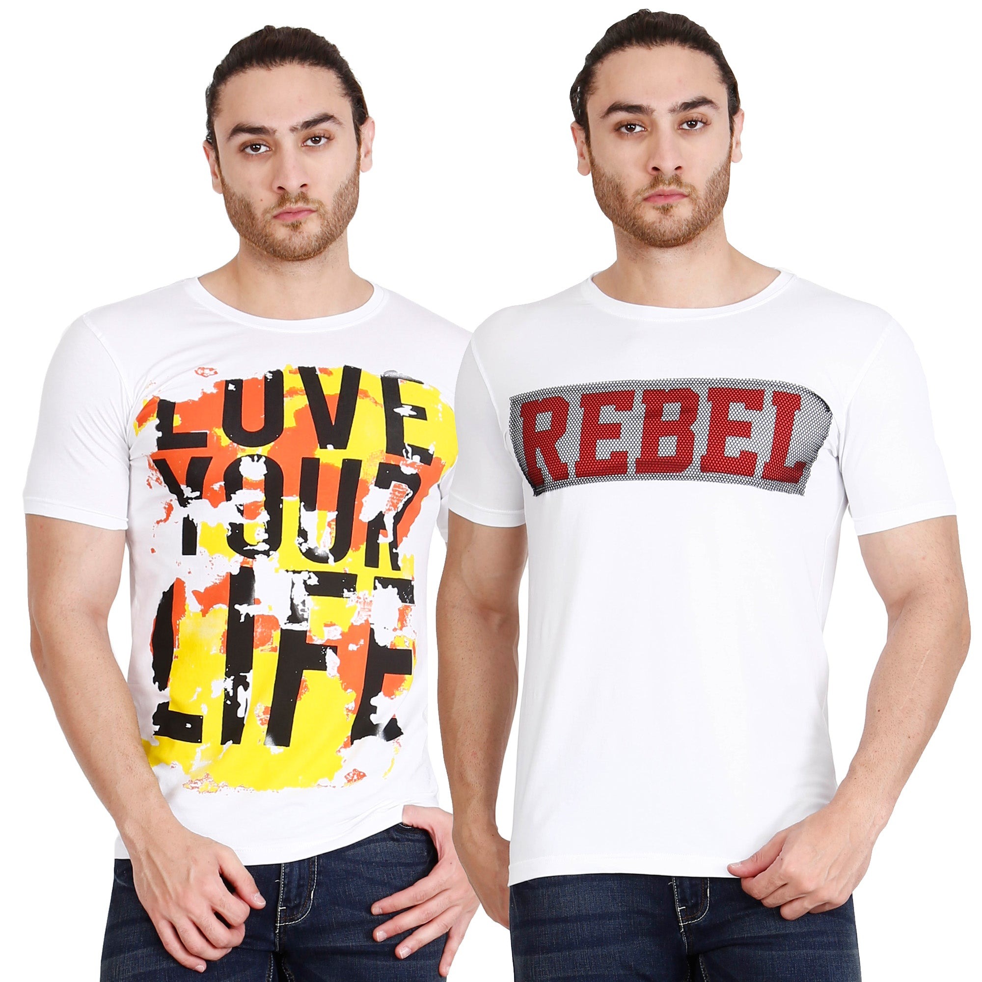 Men's pack of 2 White Printed T-Shirts